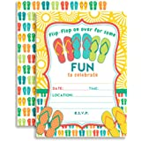 Amanda Creation Flip Flop Birthday Party Fill In Invitations set of 10 with envelopes. Perfect for Summer parties, graduation, family reunions, barbeques and more