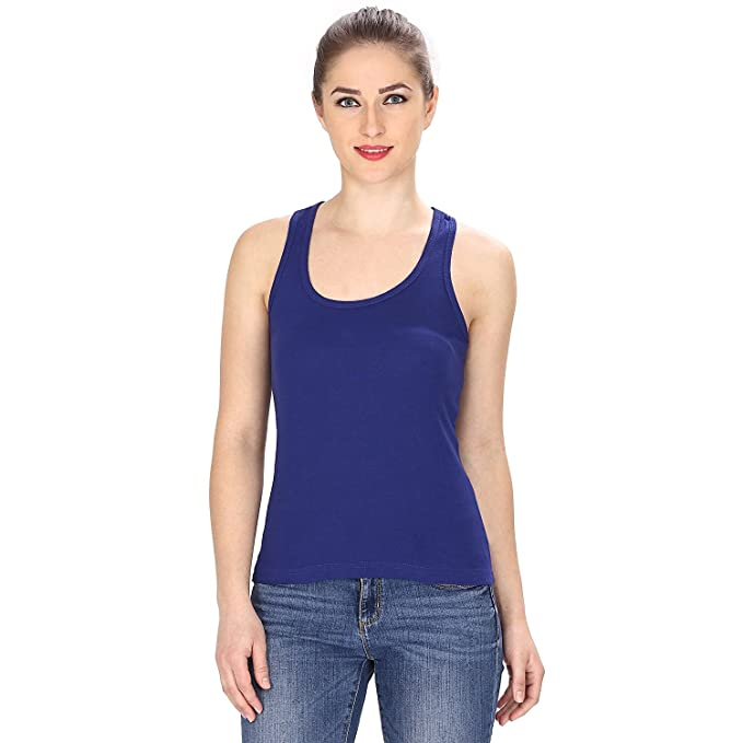 ece8db7d8f3457 GRAPPLE DEALS Cotton Casual Spaghetti Straps Camisole Racerback Tank Top  Wire Less Easy to Fit for Women.(Dark Blue)  Amazon.in  Clothing    Accessories