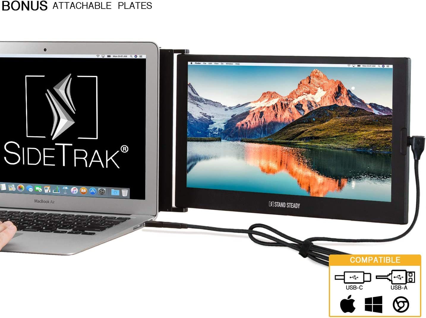 """SideTrak Portable USB Monitor 12.5"""" Screen + Extra Metal Plates - Attaches to Your Laptop for Easy Work from Home - USB Power - Fits Mac and PC 13""""-17"""" Laptops - Full HD IPS Display (Patent Pending)"""