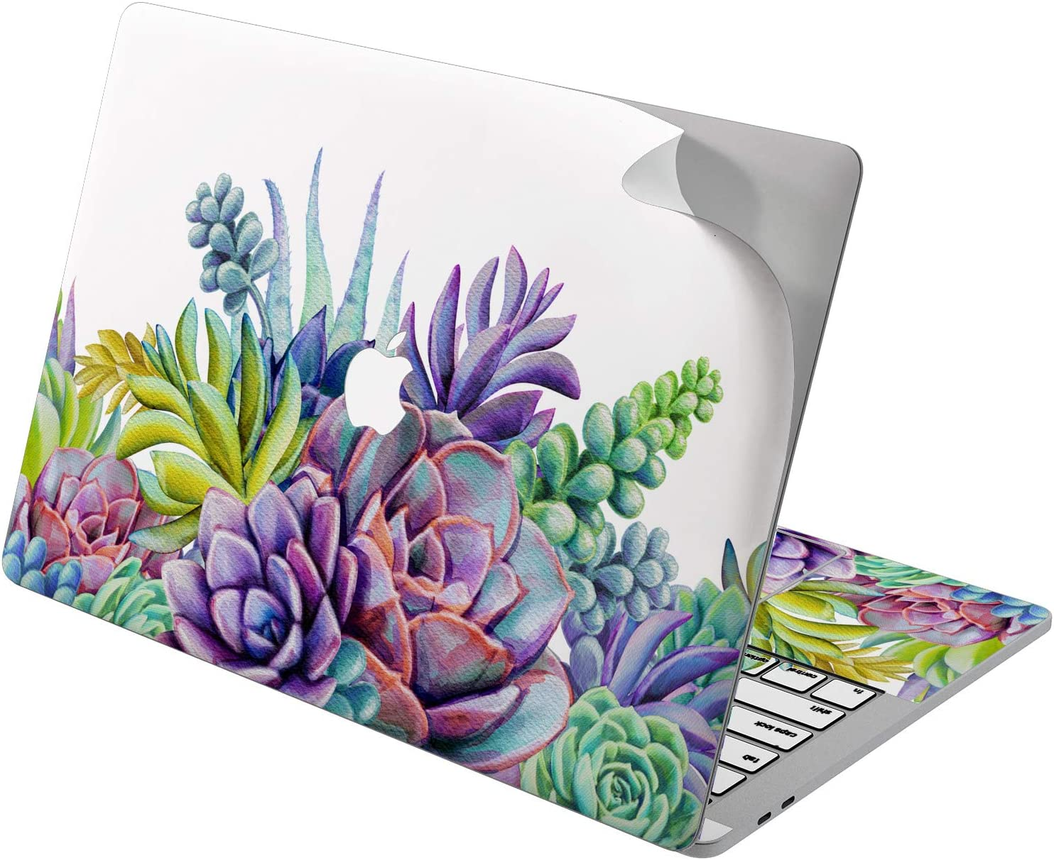 "Cavka Vinyl Decal Skin for Apple MacBook Pro 13"" 2019 15"" 2018 Air 13"" 2020 Retina 2015 Mac 11"" Mac 12"" Design Purple Plant Flower Succulent Sticker Protective Leaves Print Cover Laptop Cacti Rainbow"
