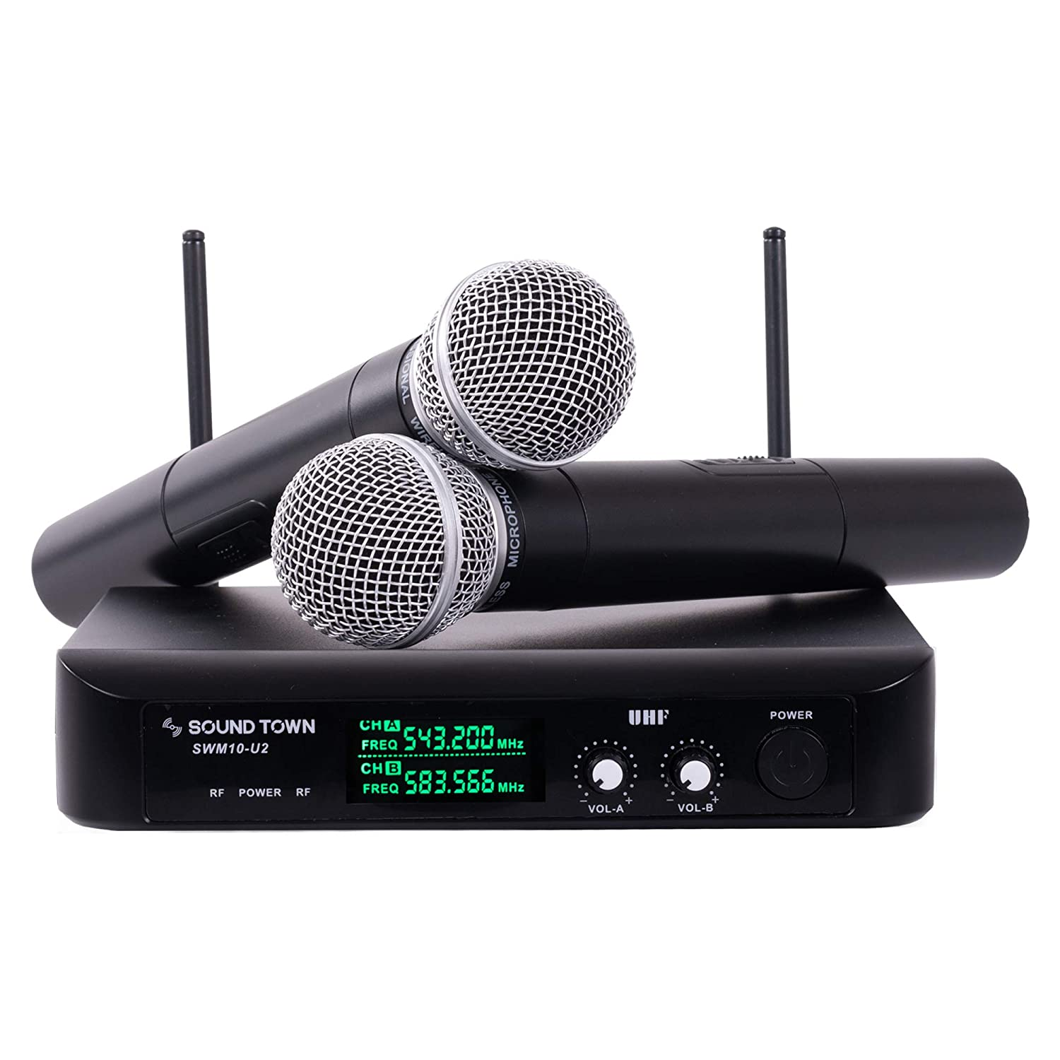 Sound Town SWM10-U2HH Professional Dual-Channel UHF Wireless Microphone  System with 2 Handheld Mics, for Church, Business Meeting, Outdoor Wedding  and