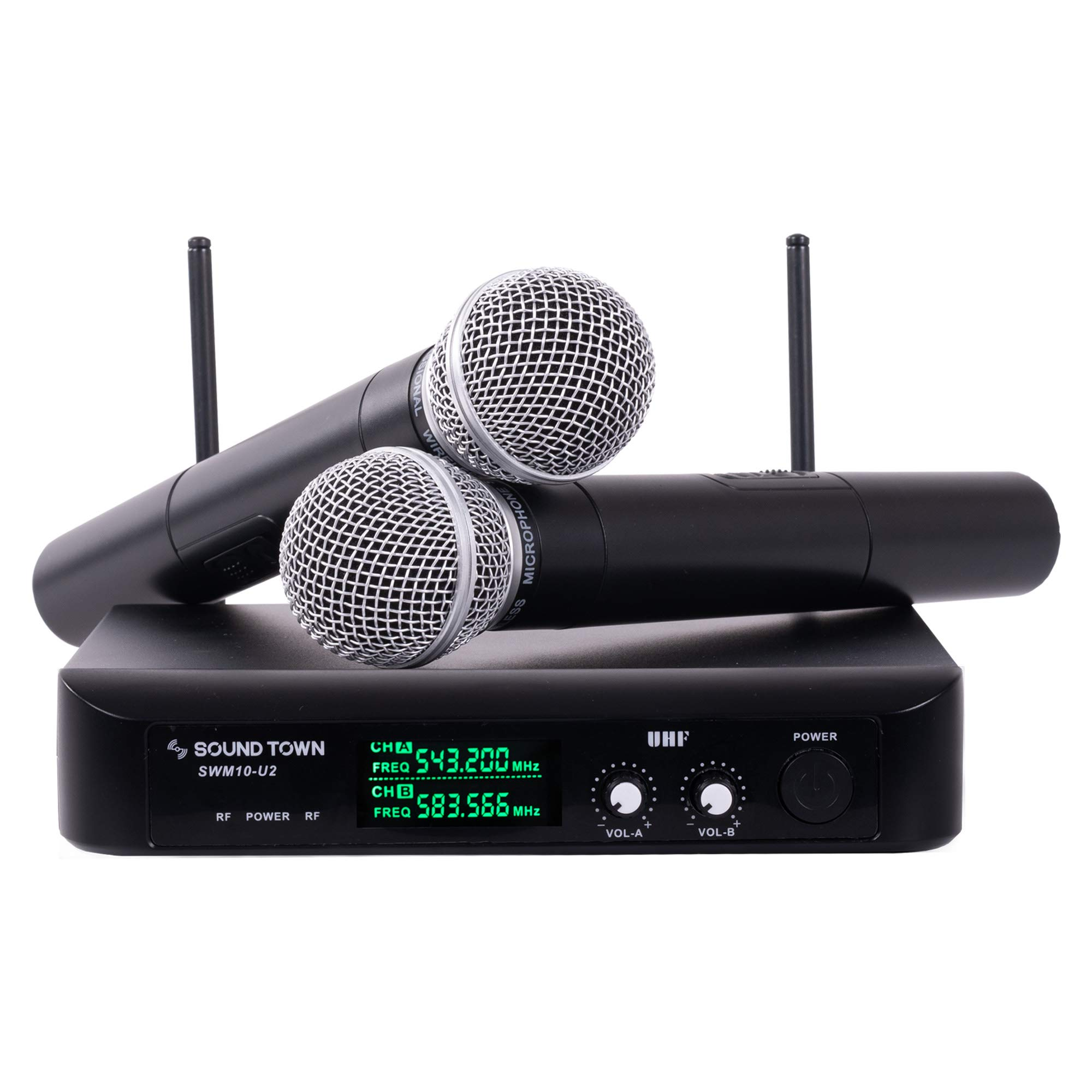 Sound Town SWM10-U2HH Professional Dual-Channel UHF Wireless Microphone System with 2 Handheld Mics, for Church, Business Meeting, Outdoor Wedding and Karaoke by Sound Town