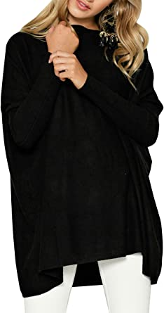 Cindeyar Womens New Oversized Jumper Shirt Dress Long Sleeve Tops Plus Size Sweater Pullover Sweatshirt