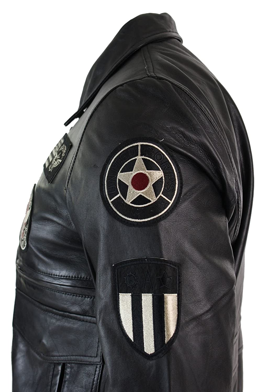 Blouson en Cuir v/éritable Noir Homme avec Badges Style aviateur air Force Bomber