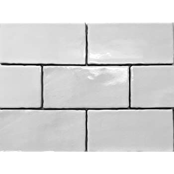 4x8 Soft White Wide Beveled Subway Ceramic Tile