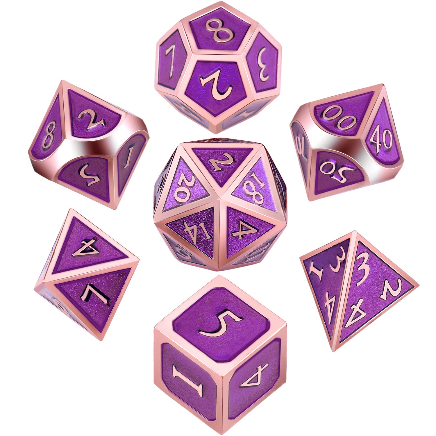 Bronzo Hestya 7 Pieces Metal Dices Set with Storage Bag And Enamel for Dungeons And Dragons