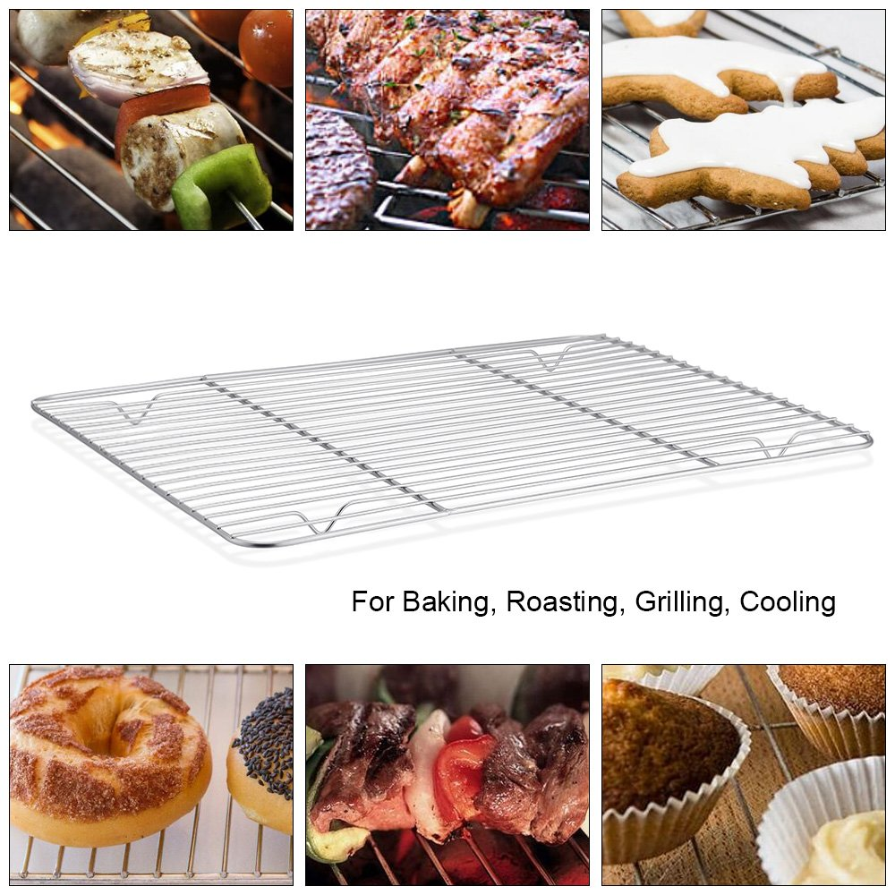 P&P CHEF Baking Sheet and Rack Set, 6 PACK (3 Sheets + 3 Racks), Stainless Steel Baking Cookie Sheets Pans with Cooling Rack for Baking and Roasting, Oven & Dishwasher Safe by P&P CHEF (Image #5)