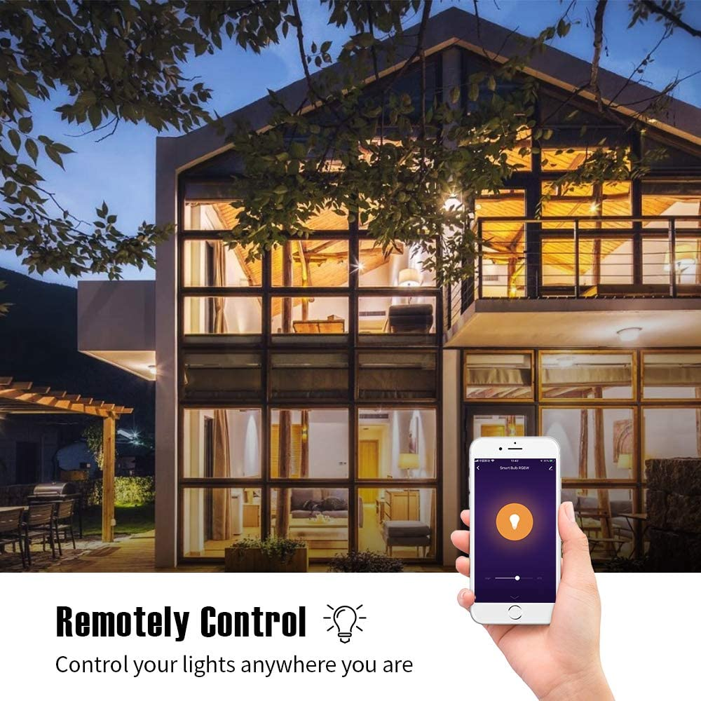 Smart LED Light Bulb Multicolor Changing Light Bulbs with WiFi Remote Control Dimmable Night Light Bulbs Compatible with Smart Life 1 Pack VIGIND Light Bulbs Alexa and Google Home APP