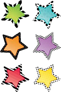 """Creative Teaching Press Bold & Bright Stars 3"""" Designer Cut-Outs (Use as Calendar Days, Accenting Bulletin Boards and More!) (8091)"""