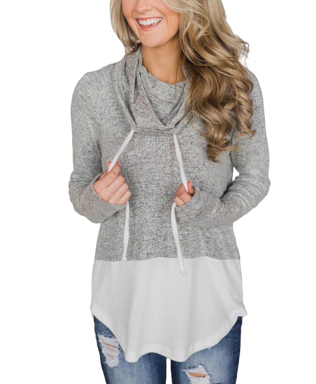 Eytino Women Casual Color Block Drawstring Long Sleeve Lightweight Tunic Sweatshirt Tops,X-Large White