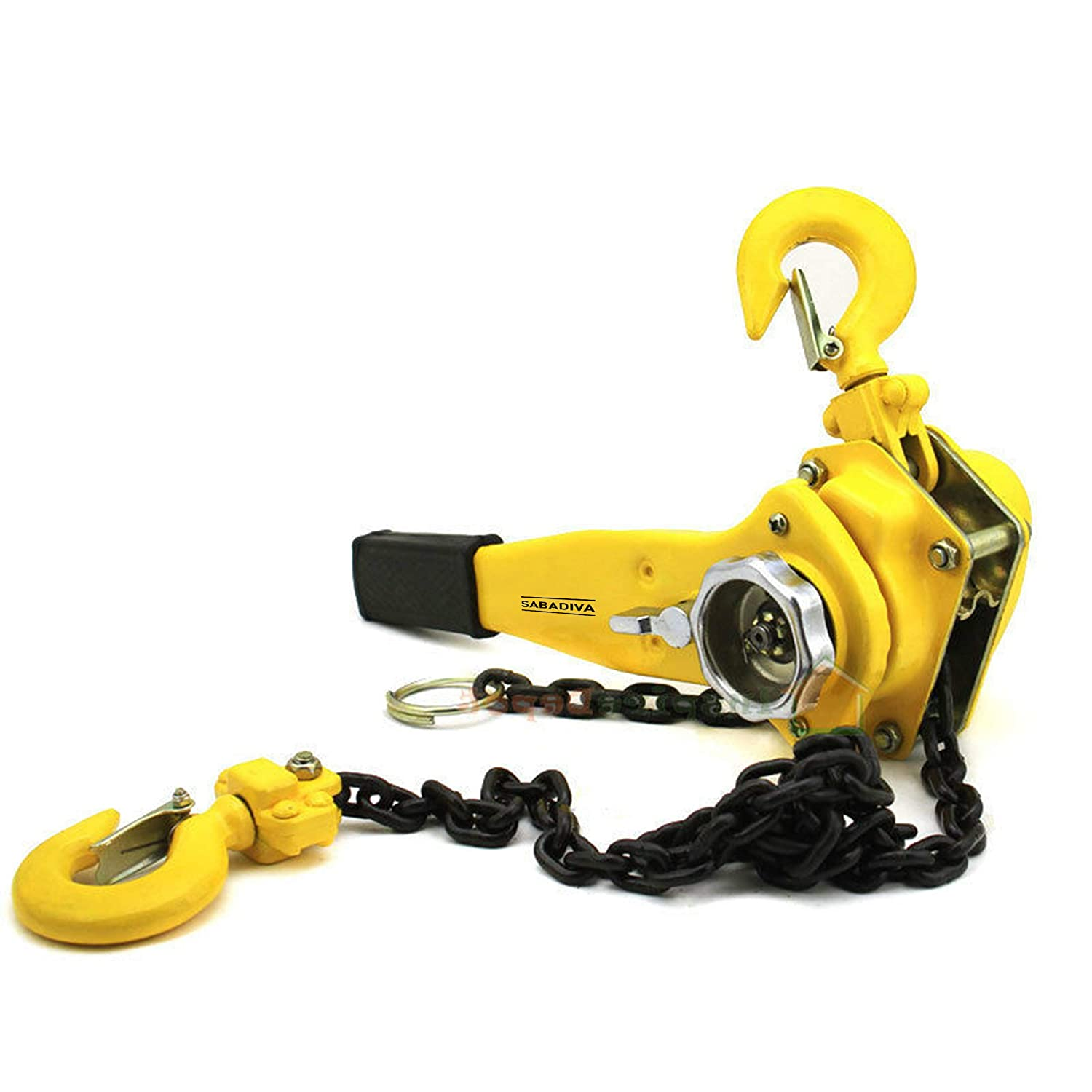 1 Pc Chain Hoist 3//4 Ton Lever Block Ratchet Type Come Along Puller 5ft Chain Lifter Pulling Hook SABADIVA Come Along Winch Hoist Pulley