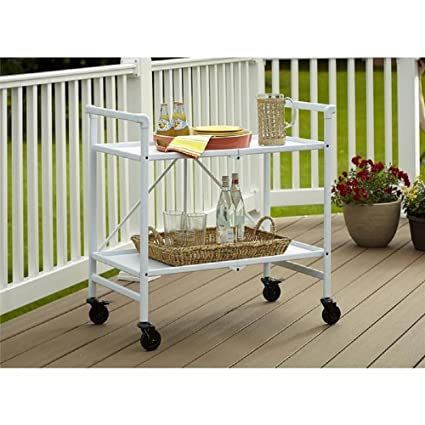 Serving Cart For Dining Room Outdoor Folding Rolling Wheels Portable Serving  Cart Bar Trolley Storage Home