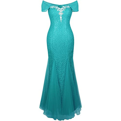 Angel-fashions Womens Halter Bateau Beaded Tulle Mermaid Sheath Prom Dresses