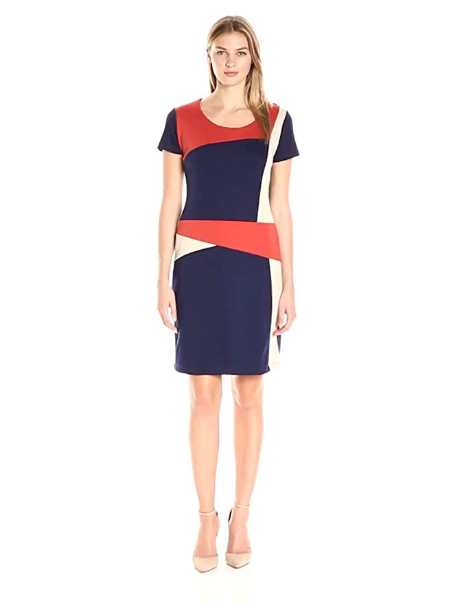 1960s Mod Dresses NY Collection Womens Plus Size Short Sleeve Color Block Dress $39.99 AT vintagedancer.com