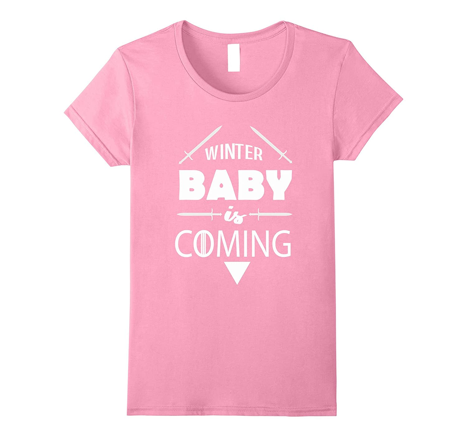 Womens Winter Baby Is Coming Shirt - Funny Baby Announcement Shirt-CL