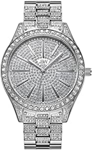 JBW Luxury Women's Cristal 0.12 Carat Diamond Wrist Watch with Stainless Steel Link Bracelet Silver