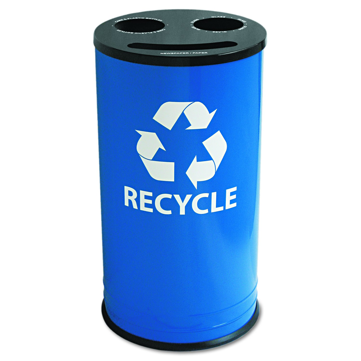 Ex-Cell RC15283RBL Round Three-Compartment Recycling Container, Steel, 14gal, Blue/Black