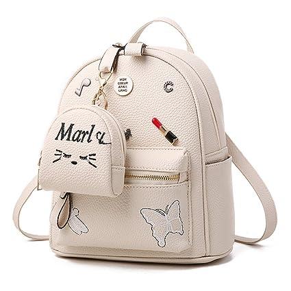 l'ultimo 3e391 c5e87 Flada ragazze zaino PU in pelle borse scuola zainetto carino bookbag borsa  con piccolo gatto portafoglio beige
