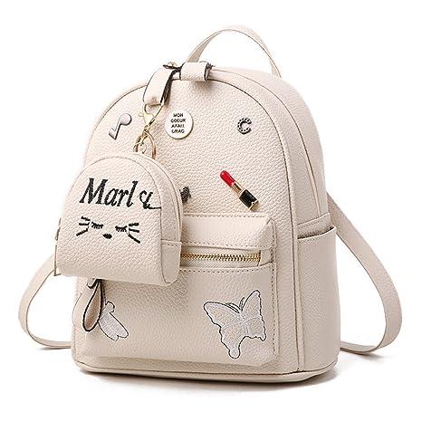 Flada ragazze zaino PU in pelle borse scuola zainetto carino bookbag borsa  con piccolo gatto portafoglio 3c8e5ee590e