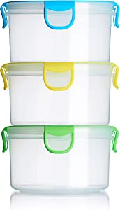 Snap Fresh - 3 Pack of 1 Liter Salad Containers, Airtight Seal, BPA-Free Plastic, Locking Lids - Perfect for Lunch, Food Storage, Snacks and Travel