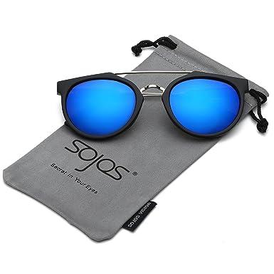 SOJOS Schick Klassische Retro Doppelt Metallbrücken Rechteckig Sonnenbrille Damen Herren SJ2038 mit Demi Rahmen/G15 Linse BtH9STI