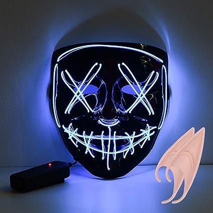 URAQT Máscara LED de Halloween, Mascaras de Halloween, Craneo Esqueleto Mascaras, mascaras de Halloween de Terror, Fiesta de Musica, Mascarada(Azul)