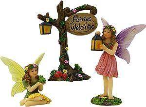 PRETMANNS Fairy Garden Fairies Accessories - 2 Miniature Fairy Figurines & Fairies Welcome Sign - Fairy Garden Supplies - 3 Piece Set