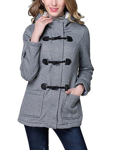 EMMA Mujer Invierno Abrigo Casual Sudadera Hoodie de las Mujeres Chaqueta del Botón