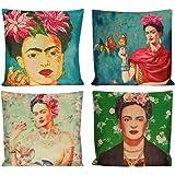 4Pcs Self Portrait Frida Kahlo Throw Pillow Case Sofa Cushion Cover Home Decor