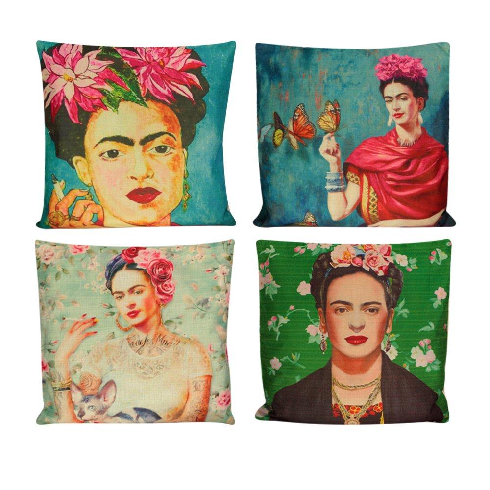 4Pcs Self Portrait Frida Kahlo Throw Pillow Case Sofa Cushion Cover Home Decor AHG