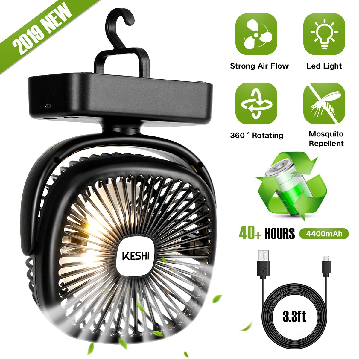 Portable Camping Fan with LED Lantern - 4400mAh Battery Powered Small Desk Fan - Super Quiet Personal Tent Fan - USB Rechargeable Fan for Camping, Hiking, Home and Office by KeShi