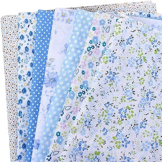 CUTOOP - 7 piezas de tela de retales 100% algodón, diferentes patrones de patchwork, para costura, álbumes de recortes, acolchados, manualidades, azul, 50 x 50 cm: Amazon.es: Hogar