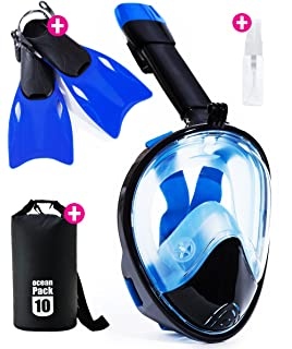 Snorkel Mask Full Face - 2017 Snorkeling Set for Adult Kids & Youth + Extra Diving