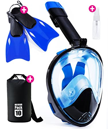 Snorkel Mask Full Face - 2017 Snorkeling Set for Adult Kids & Youth + Extra Diving Fins Dry Bag & Anti Fog Spray
