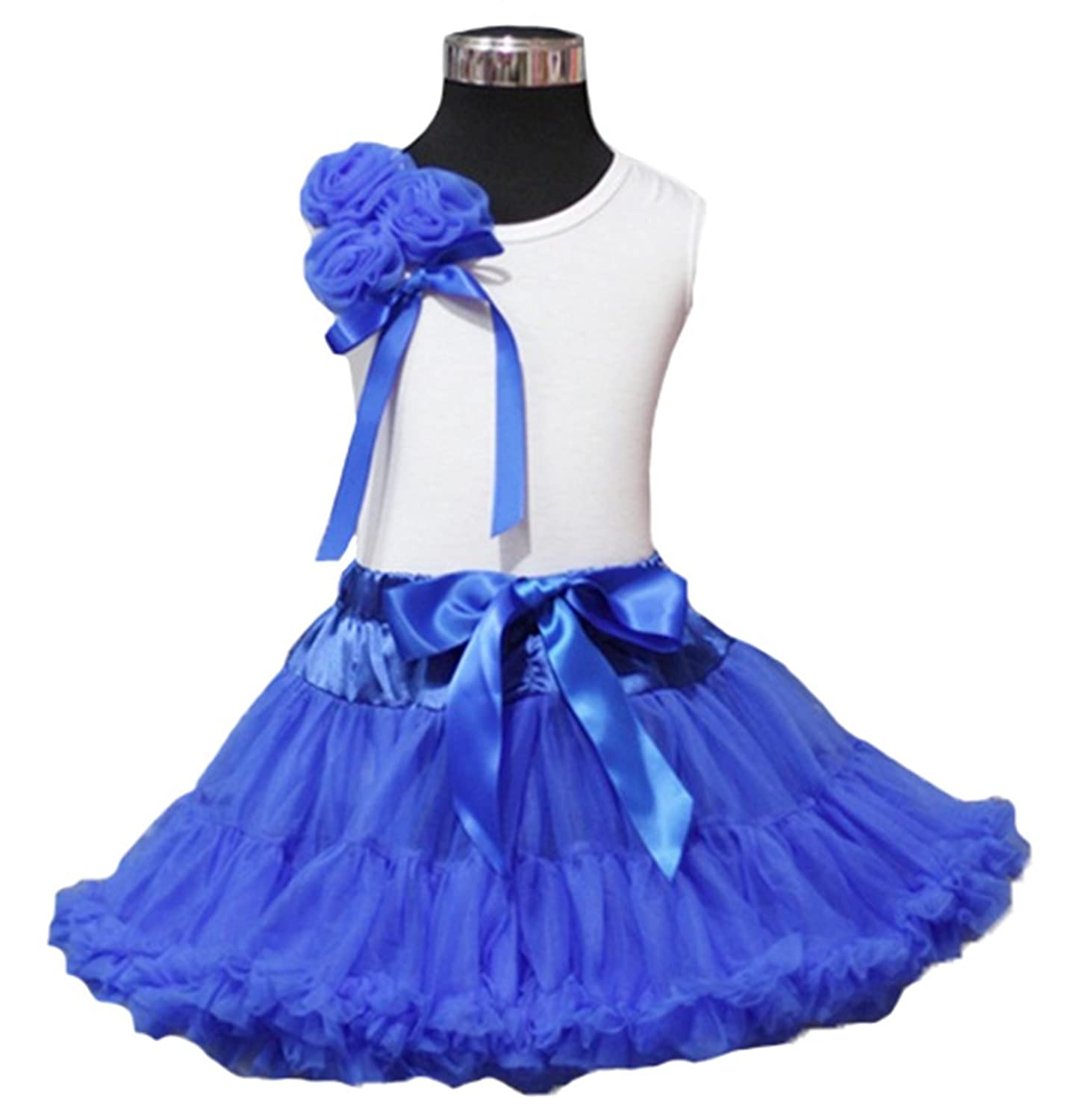 4th July Bunch of Blue Rosette White Top Royal Blue Pettiskirt Girl Set 1-8y
