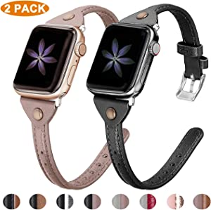 Minyee 2-Pack Leather Bands Compatible with Apple Watch 38mm 40mm 42mm 44mm Womens Thin Wristband, Slim Bronze Retro Rivet Grain Genuine Leather Strap for iWatch SE Series 6 5 4 3 2 1, 8 Colors