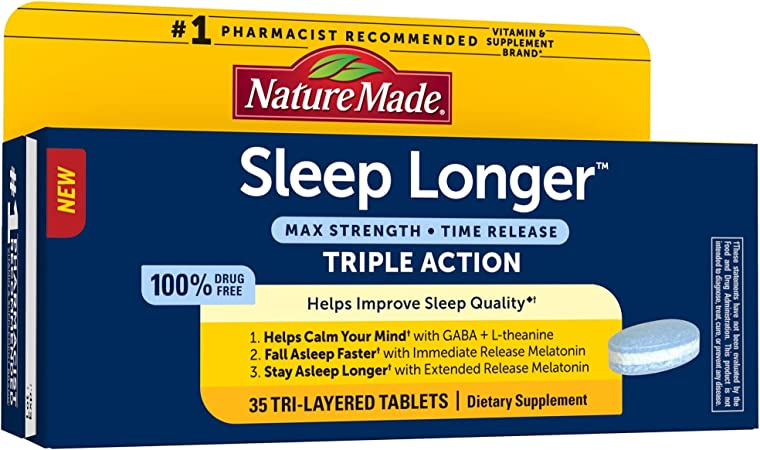 Nature Made Sleep Longer, Melatonin 10mg Time Release Tri-Layer Tablets, Helps Improve Sleep Quality, Fall Asleep Faster, Stay Asleep Longer, L-Theanine and GABA to Help Calm Your Mind, 35 Count