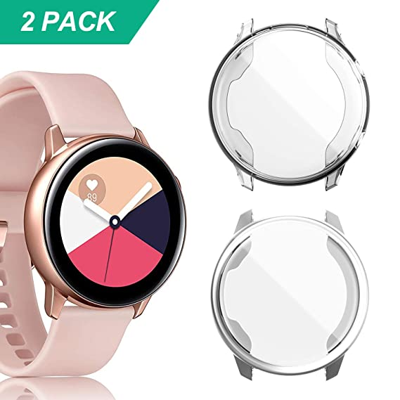YUANHOT Compatible Galaxy Watch Active Case, 2 Pack Soft TPU Screen Protector All-Around Scractch-Resist Protective Case Cover for Galaxy Watch Active ...
