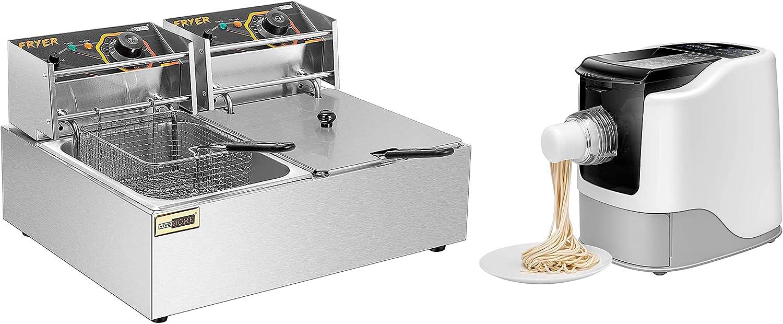 VIVOHOME 19.6L/20.7QT Commercial Electric Deep Fryer with Double Basket Deep Fryer with Electric Pasta and Ramen Noodle Maker