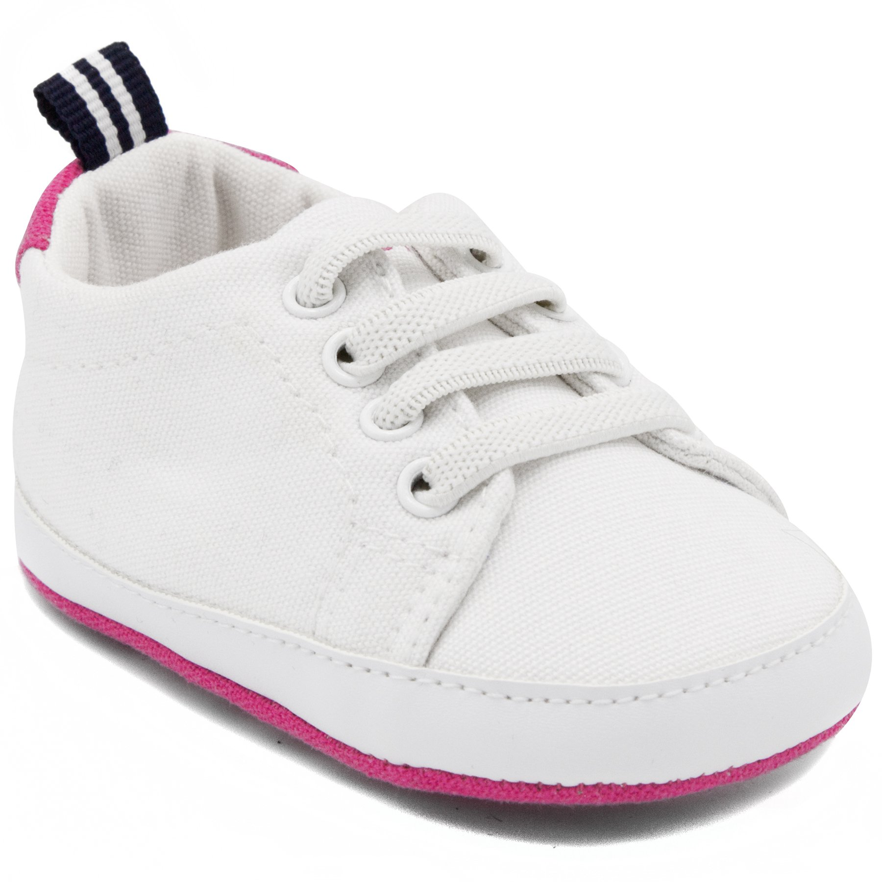 Nautica Comber, Baby Girl Prewalker, Crib Sneakers, Soft Sole Shoes-White/Pink-1