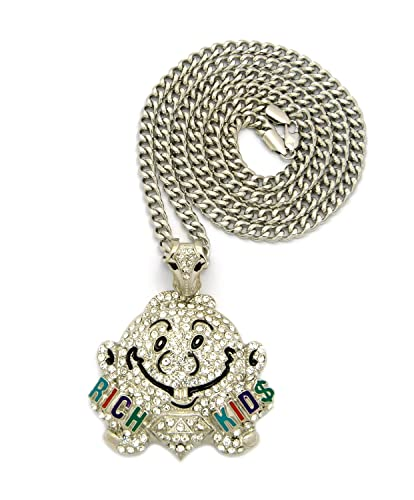 Rich kids iced out smiley face pendant w 914cm cuban chain rich kids iced out smiley face pendant w 914cm cuban chain silver tone aloadofball Choice Image