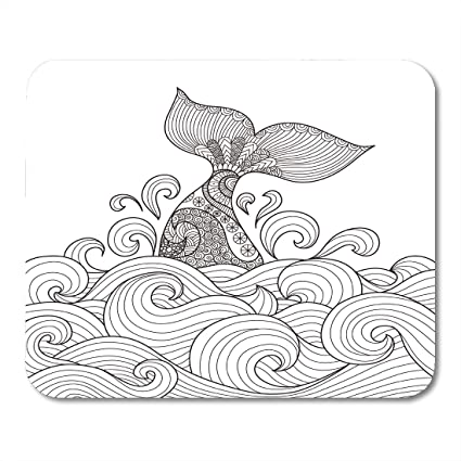 Amazon Com Emvency Mouse Pads Sea Whale Tail In The Wavy