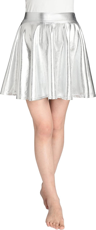 JustinCostume Womens Metallic Skirt Flared Shiny Skirt