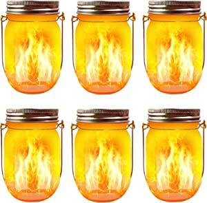 Solar Flame Torch Lights, 6 Pack Waterproof Dancing Flicker Flame Lights Build-in Glass Mason Jar, Outdoor Patio Yard Desktop Party Xmas Decor Solar Lanterns