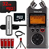 Tascam Portable Digital Recorder (DR-40) 32GB MicroSD Memory Tripod and Battery Bundle