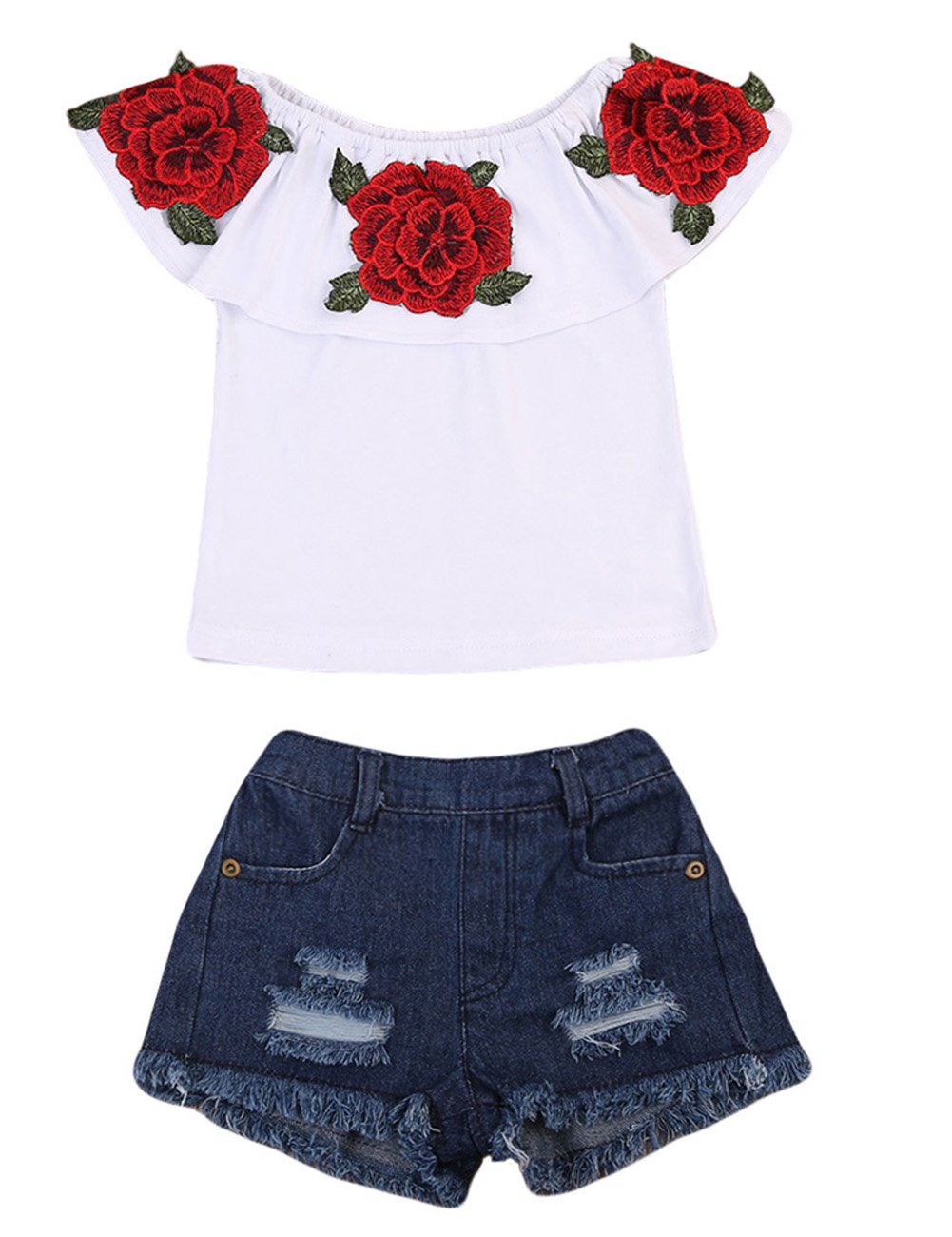 Little Girls Off-Shoulder Rose Embrodidery Applique Ruffle Top and Denim Shorts Outfit (5-6T, White)
