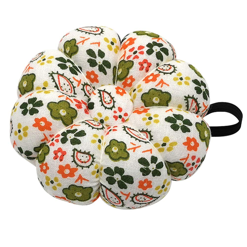 Orange and Green Polka Dot Wrist Pin Needle Cushion Pincushion Wearable Cute Small Size Pumpkin Pins Needles Pincushions Holder Safety with Elastic Band for Sewing Girl Women Craft Handmade