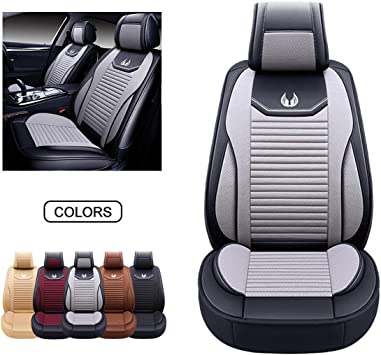 Faux Leatherette Automotive Vehicle Cushion Cover for Cars SUV Pick-up Truck Universal Fit Set for Auto Interior Accessories OASIS AUTO OS-001 Leather Car Seat Covers Front Pair, Black