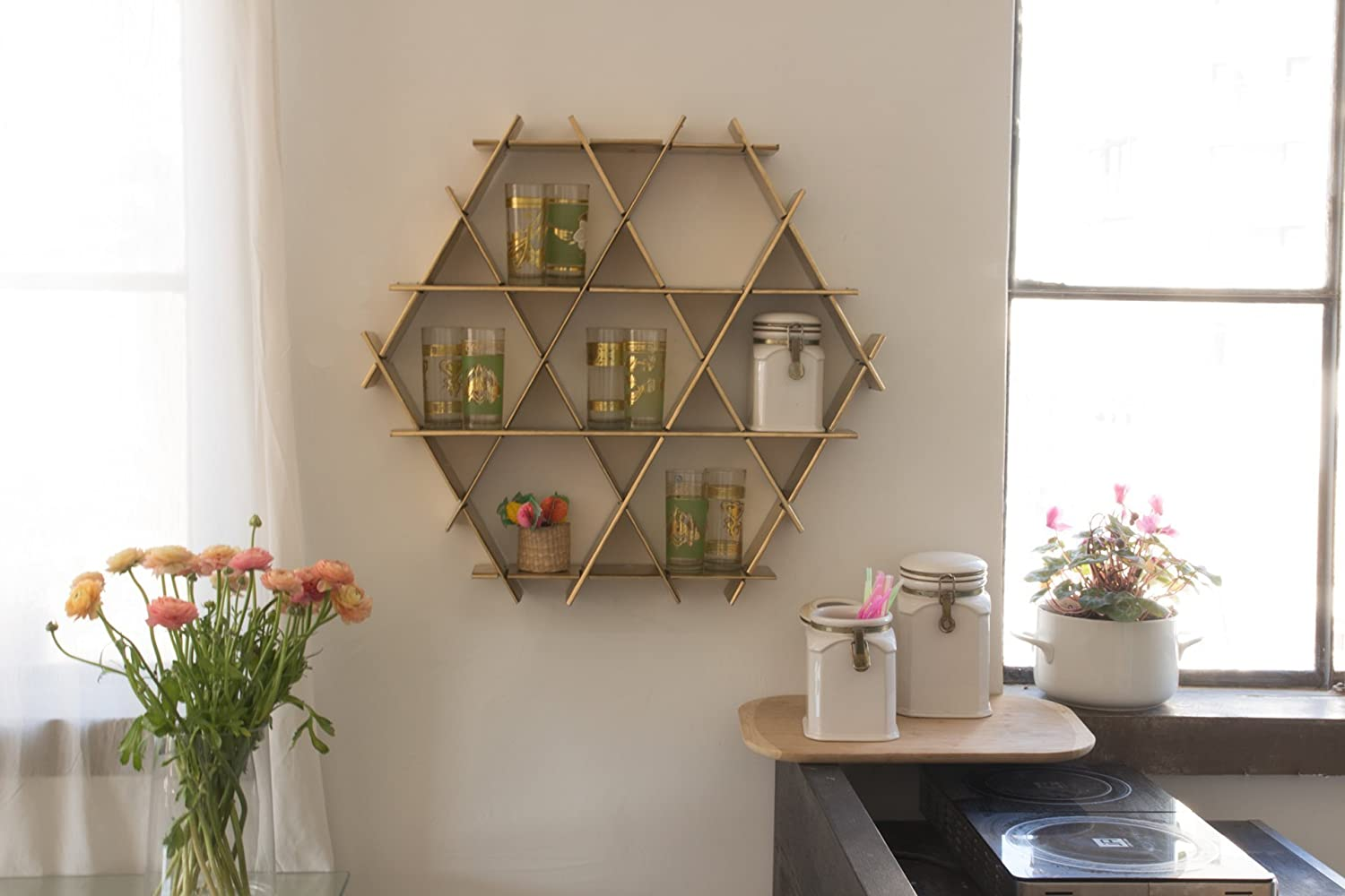 Bon Amazon.com: Kitchen Wall Shelf, Organizer, Coffee Cup Holder, Kitchen  Display Storage   Gold Cardboard Medium Ruche Shelves: Handmade