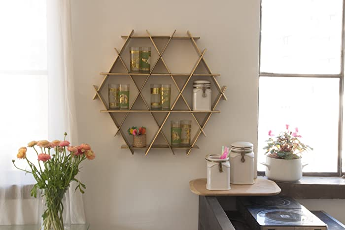 Kitchen Wall Shelf, Organizer, Coffee Cup Holder, Kitchen Display Storage    Gold Cardboard